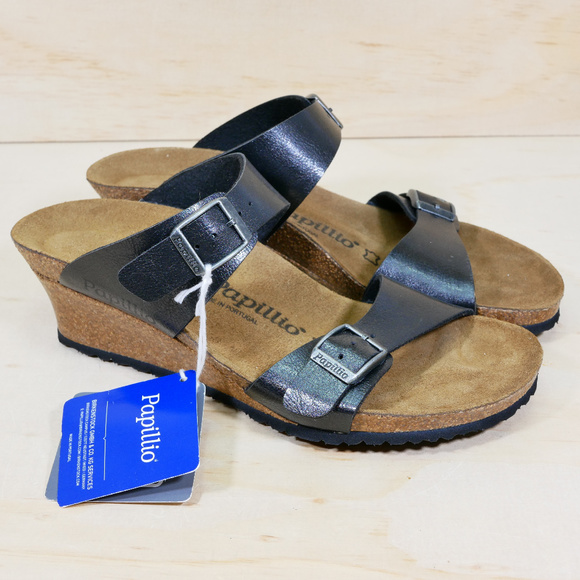 Birkenstock Papillio Black Wedge Sandals NEW NWT